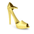 Gold women s shoe isolated render on a white background Royalty Free Stock Photography
