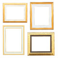 Gold and wood frame collection on white background Stock Photos