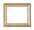Gold wooden frame isolated on white background Stock Photo