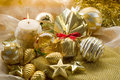Gold xmas decorationsi Stock Images