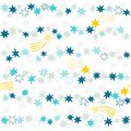 Gold yellow blue gray navy stars in rows many messy little horizontal beautiful holiday seamless pattern on white background Royalty Free Stock Photography
