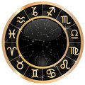 Gold zodiac circle copy Stock Image