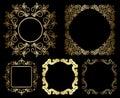 Goldblumenweinleserahmen satz Stockfotografie