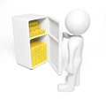 Goldbox gold in meat safe d render Stock Photography