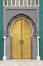 Golded door of Royal Palace in Fes Royalty Free Stock Photo