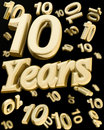 Golden 10 years anniversary Stock Images