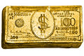 Golden 100-dollar bill Stock Photo