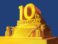 Golden 10th anniversary on platform Royalty Free Stock Image