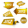 Golden 2012 Labels, stickers Royalty Free Stock Photography