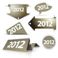 Golden 2012 Labels, stickers, pointers Stock Photos