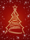 Golden 3d christmas tree in red Royalty Free Stock Photography