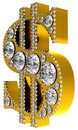 Golden 3D Dollar symbol incrusted with diamonds Royalty Free Stock Image