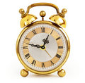 Golden alarm clock Stock Images