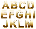 Golden alphabet letters illustration of from a to m isolated on white background Royalty Free Stock Image