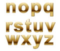 Golden alphabet letters set of from n to z isolated on white background Royalty Free Stock Photography