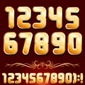 Golden Alphabet. Set of Metallic Numbers Vector
