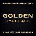 Golden alphabet vector font modern metallic bold letters and numbers on the dark background stock typeface for your design Stock Images