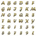 Golden alphabet on white background set Royalty Free Stock Photos