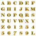 Golden alphabet on white background set Royalty Free Stock Photography