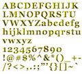 Golden Alphabetical Letters, numbers and symbols Royalty Free Stock Photo