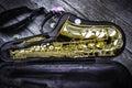 Golden alto saxophone in box Royalty Free Stock Photo