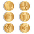 Golden ancient coins. Isolated. White background. Vector