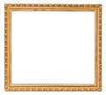 Golden ancient wooden picture frame with cut out canvas isolated on white background Stock Photography
