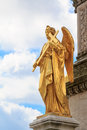 Golden angel with a cross statue of holding in front of zagreb s cathedral Royalty Free Stock Photo