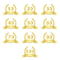 Golden anniversary icons from to isolated on white background Royalty Free Stock Photo