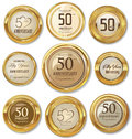 Golden anniversary labels,50 years Royalty Free Stock Photo