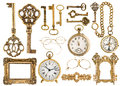 Golden antique accessories. baroque frame, vintage keys, clock Royalty Free Stock Photo