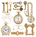 Golden antique accessories. vintage keys, clock, compass, glasse Royalty Free Stock Photo