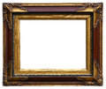 Golden antique carved picture frame isolated on white background Royalty Free Stock Photos