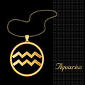 Golden Aquarius Pendant Royalty Free Stock Photo