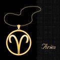 Golden Aries Pendant Stock Images