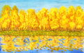 Golden autumn forest painting hand painted picture watercolours landscape with colour on bank of lake with reflection Stock Photo