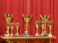 Golden award cups Royalty Free Stock Photo