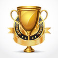 Golden award trophy and medal illustration Royalty Free Stock Photo