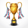 Golden award trophy and ribbon illustration Stock Image