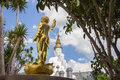 Golden Baby Buddha Statue and five sitting Buddha statues at Wat Pha Sorn KaewWat Phra Thart Pha Kaewin Khao Kho,Phetchabun,nort Royalty Free Stock Photo