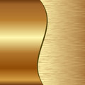 Golden background divided into two scratched and polished Stock Photo