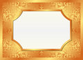 Golden background with frame vector illustration Stock Photos