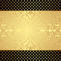 Golden background gold and black with floral abstract ornaments and stars Royalty Free Stock Photo