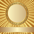 Golden background with gold round frame Royalty Free Stock Photography