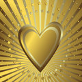 Golden background with heart Stock Photography