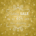 Golden background and label with sale offer vect vector illustration Stock Photography
