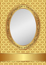 Golden background with oval frame and copy space Stock Images