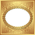 Golden background with oval frame and transparent space insert for picture Stock Photo