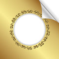 Golden background with round frame and bent corner Stock Photos