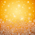 Golden background with snowflakes vector illustration Stock Photography